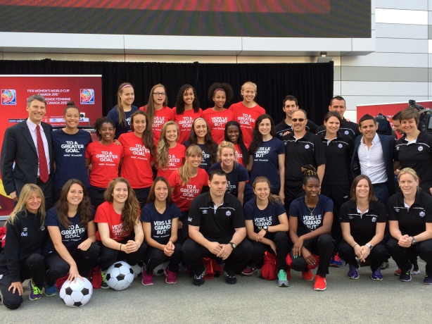 The Canada U-20 Women's World Cup team at the One-Year event in Vancouver on June 6, 2014.