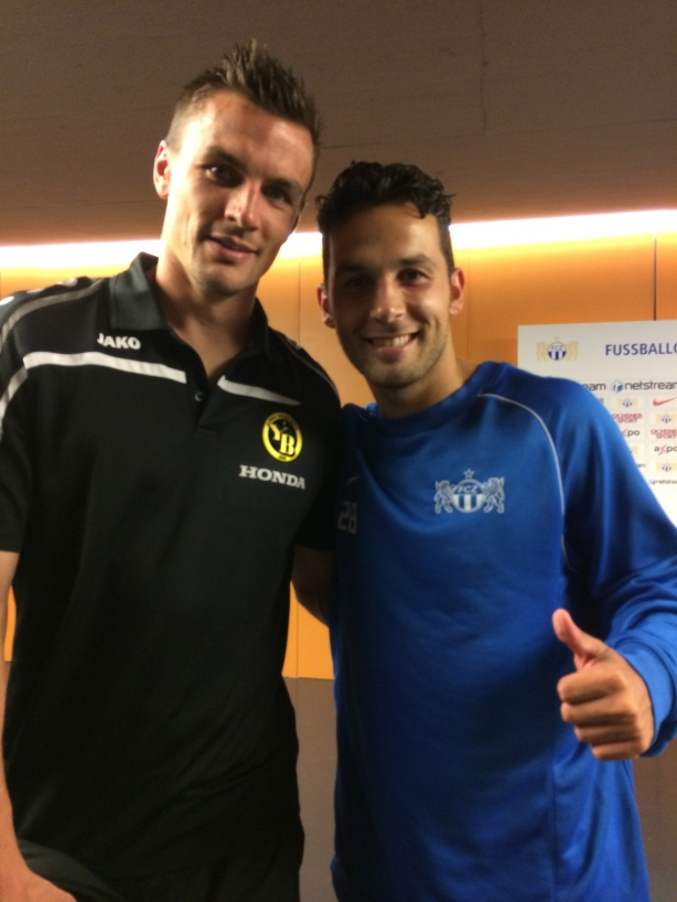 Alain Rochat and Davide Chiumiento  reunited after FC Zurich defeated BSC Young Boys 2-1.