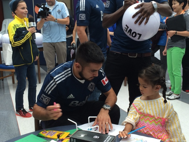 Whitecaps skipper Pedro Morales at BC Children's Hospital.