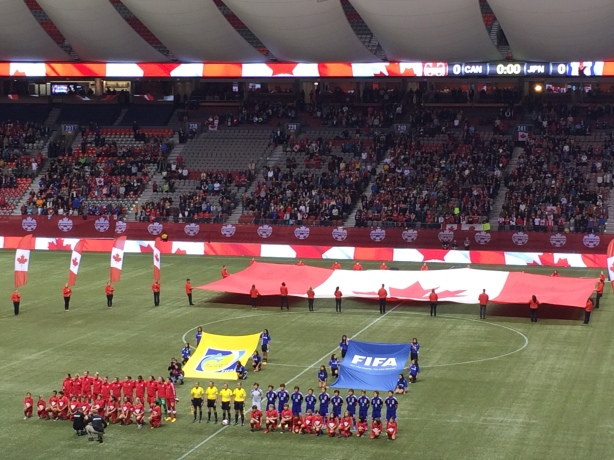 Japan defeated Canada 3-2 at BC Place in front of 14,382 fans.