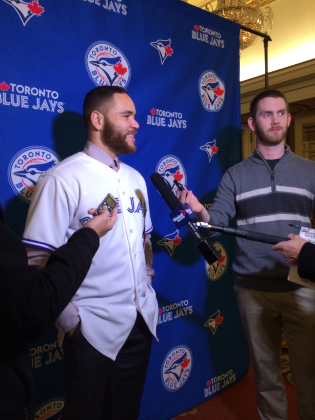 Toronto Blue Jays Catcher Russell Martin in Vancouver, B.C. on January 23, 2015