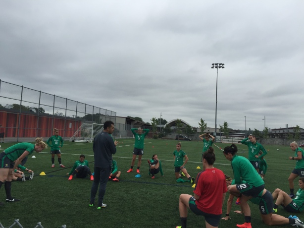 The Australian World Cup Team trains in Vancouver during an open session at Trillium Park.
