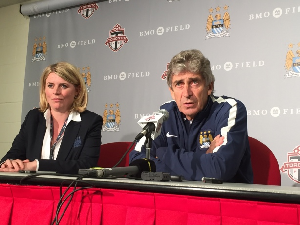 Manchester City Manager Manuel Pellegrini talks to the media after Man City defeated Toronto FC 1-0 at BMO Field in Toronto on May, 27