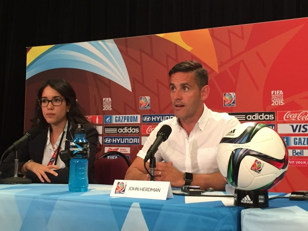 Canada Coach John Herdman talks to the media after Canada defeated Switzerland 1-0 at BC Place in Vancouver.