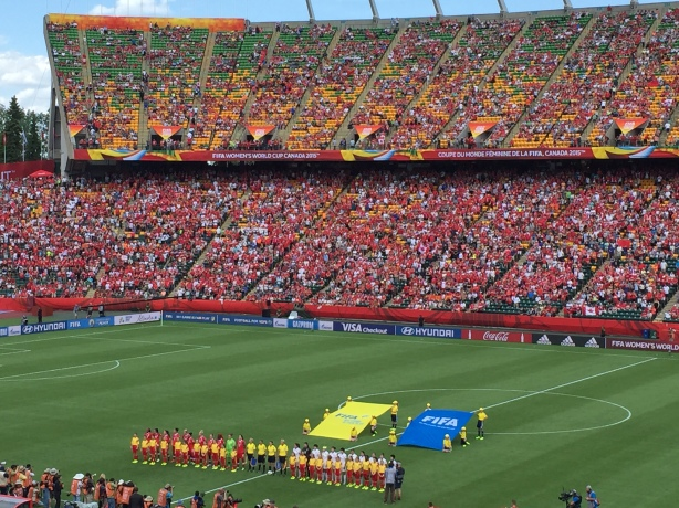 Canada defeated China 1-0 in the FIFA Women's World Cup opening match at Commonwealth Stadium, in Edmonton, Alberta.