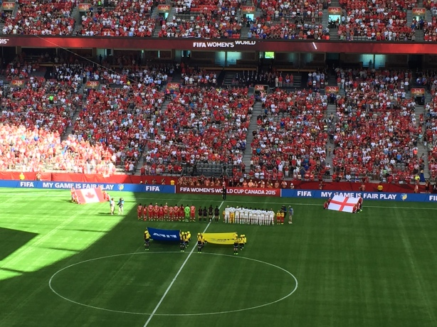 England defeated Canada 2-1 in a quarter-final match of the World Cup on June 27, in Vancouver.