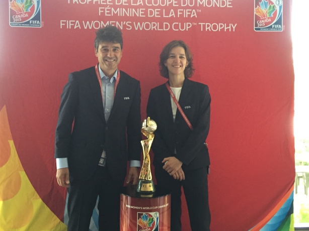 Massimo Busacca, FIFA's Head of Refereeing and Tatjana Haenni, FIFA Deputy Director of Competitions and Head of Women's Football in Vancouver, on June 29.