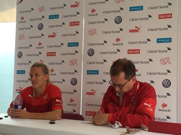 Switzerland Midfielder Lara Dickenmann speaks to the media in Vancouver ahead of playing Canada at the World Cup.