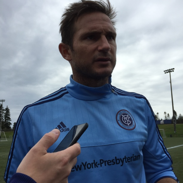 New York City FC midfielder Frank Lampard talks to the media after training in Vancouver on Friday, September 25.