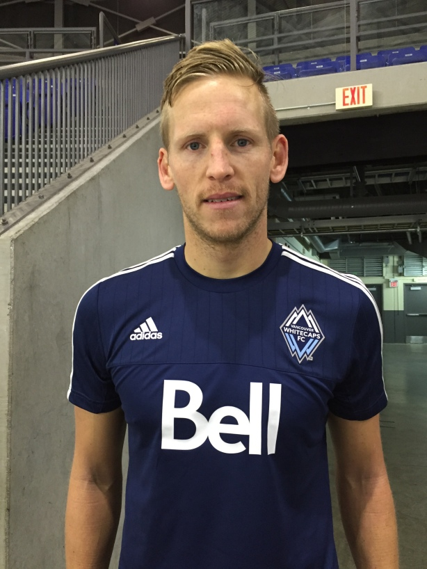 Vancouver Whitecaps goalkeeper David Ousted after training at UBC.