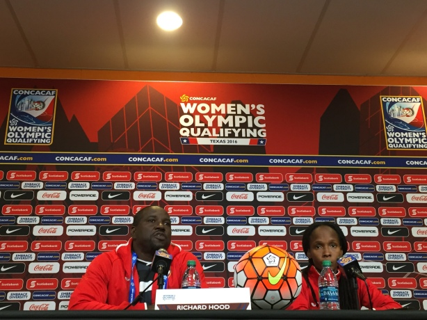 Trinidad and Tobago Coach Richard Hood talks to the media in Houston, Texas.