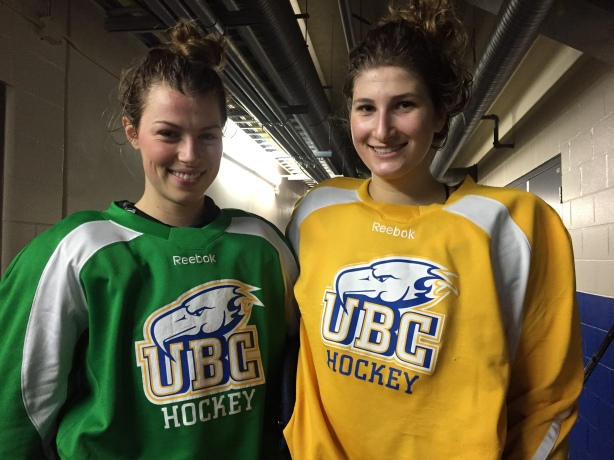UBC Thunderbirds Forwards Emily O'Neill (left) and Stephanie Schaupmeyer (right) following practice at Doug Mitchell Thunderbird Sports Centre.