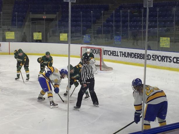 UBC Thunderbirds forward Stephanie Schaupmeyer (right) gets ready for a faceoff against the Regina Cougars on Saturday, February 6.