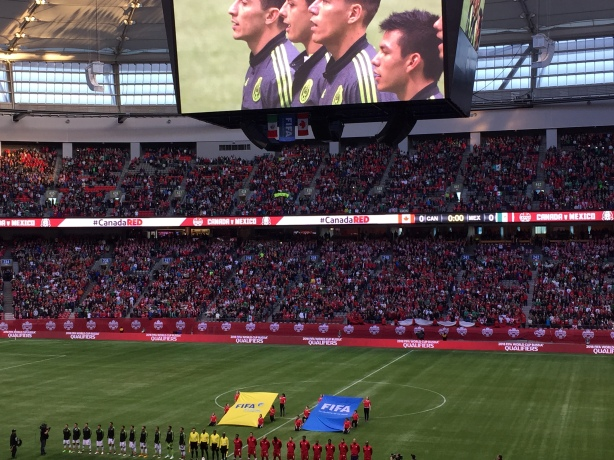 Canada vs Mexico in World Cup Qualifying at BC Place in Vancouver on Friday, March 25.