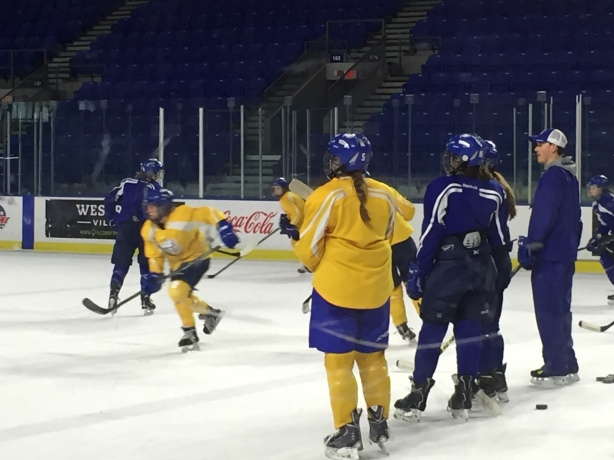 UBC Thunderbirds defender Kelly Murray (Left) watching a practice drill.