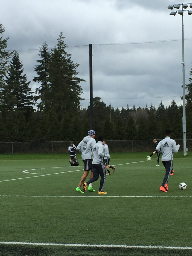 Vancouver Whitecaps Striker Blas Perez (Green Boots) goes for a run after training.