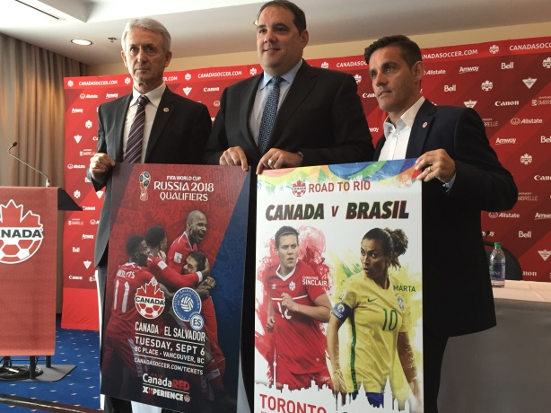 John Herdman (Right) looks to lead Canada in Group F play at the Rio Olympic games.