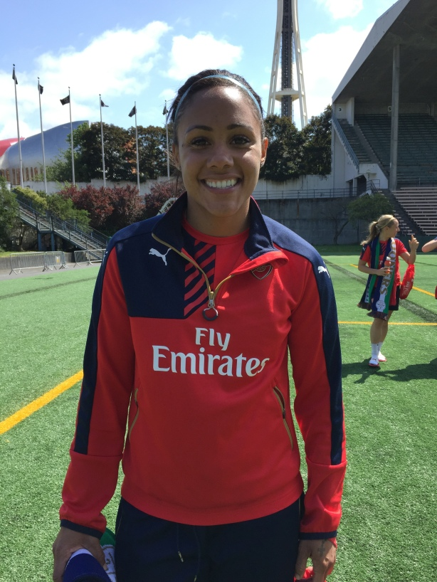 Arsenal Ladies and England International Alex Scott at Memorial Stadium in Seattle.