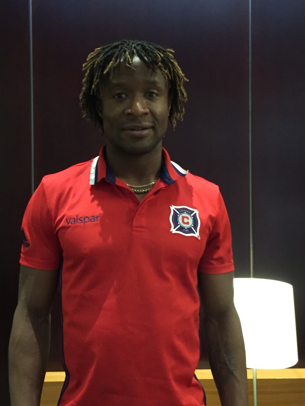Chicago Fire striker Kennedy Igboananike in Vancouver, B.C.