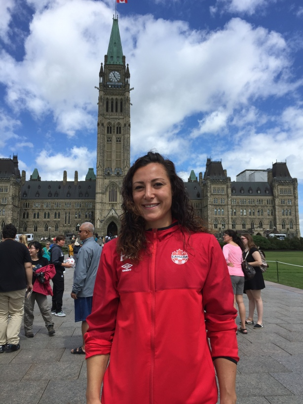 Canada Soccer Striker Melissa Tancredi following training at TD Place in Ottawa.