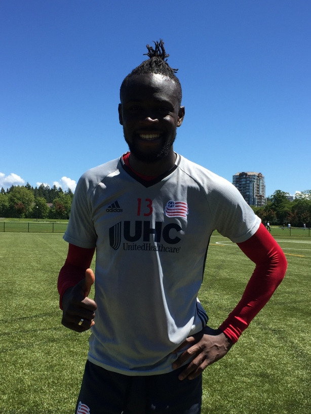New England Revolution Striker Kei Kamara in Vancouver, B.C. on June 17.