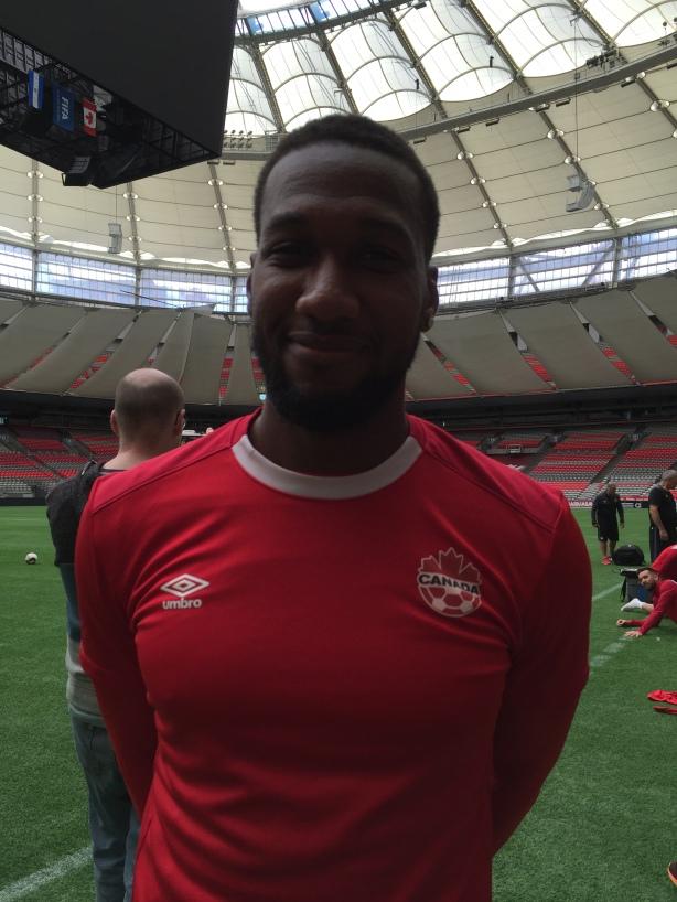Canada Soccer's Junior Hoilett following training at BC Place on September 4.