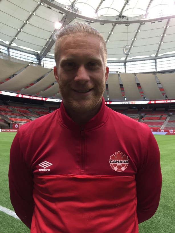 Canadian full-back Marcel de Jong following training at BC Place on September 5.