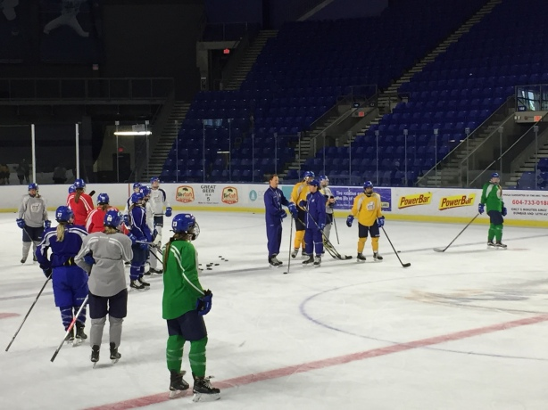 UBC Coach Graham Thomas talks tactics during practice on Wednesday, September 14.