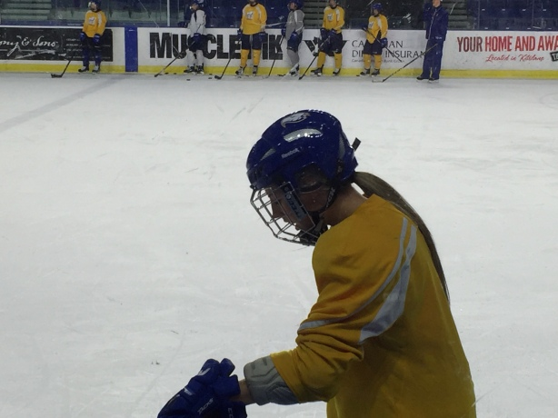 UBC Thunderbirds defender, Kirsten Toth during practice in February, 2016.