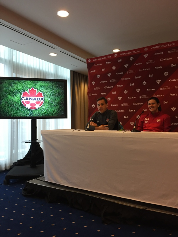 Canada Soccer's John Herdman and Christine Sinclair in Vancouver, on October 14.