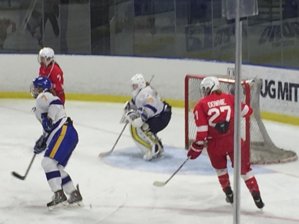McGill Martlets forward, Jade Downie in preseason action against UBC.