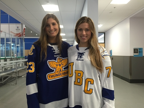 UBC Thunderbirds forwards, Stephanie Schaupmeyer, and Emily O'Neill.