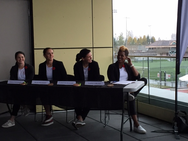 From Left to Right - Diana Matheson, Rhian Wilkinson, Christine Sinclair, and Karina LeBlanc at the iS4 inaugural event in Vancouver, B.C.