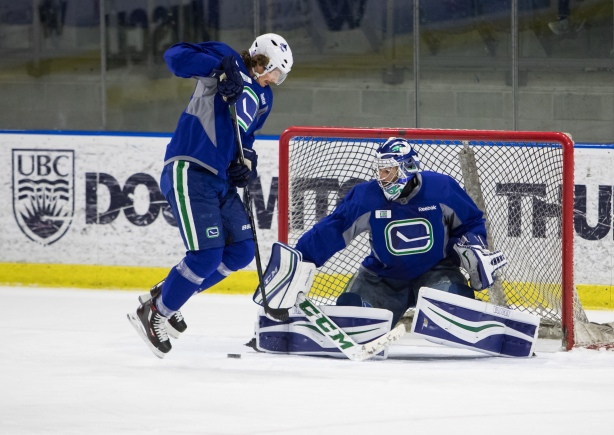 Vancouver Canucks forward Loui Eriksson works on his net presence during an open practice at UBC's Doug Mitchell Thunderbird Sports Centre. Photo Credit: Ben Nelms.