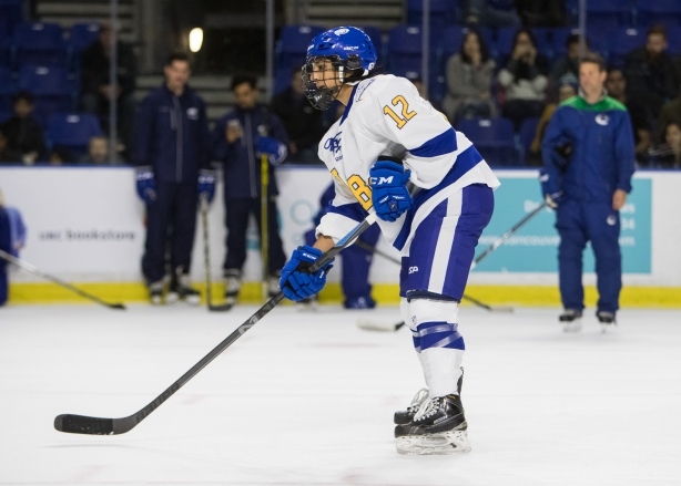 UBC Thunderbirds forward, Haneet Parhar during the Canucks on Campus fundraiser on Saturday, November 12. Photo Credit - Ben Nelms.
