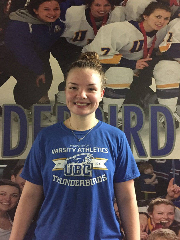UBC Thunderbirds forward Mathea Fischer following practice at Father David Bauer Arena on November 29.