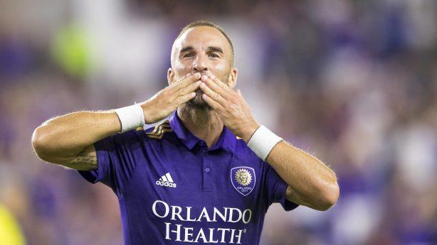 ORLANDO FL AUGUST 24 Orlando City midfielder Scott Sutter 21 scores the tyeing goal during the